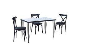 РЕТРО мрамор маса с 4 стола S6
